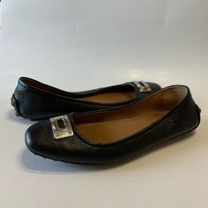 Coach Vernon black pebbled leather flats